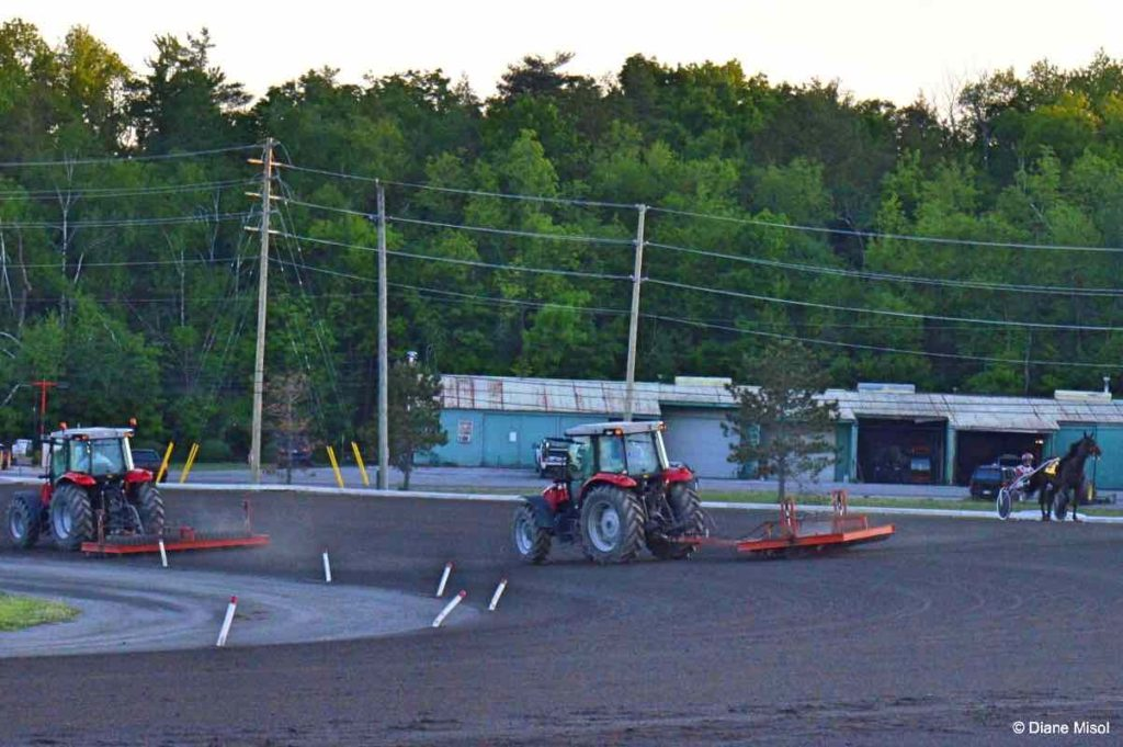 Raking the Track at Mohawk Racetrack. Harness Racing
