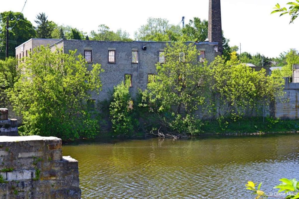 River View of an Abandoned Limestone Building. Elora, Ontario, Canada