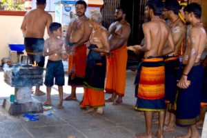 Child Participates in Religious Ceremony - New Mangalore Temple, India