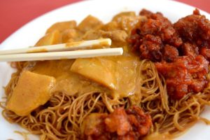 Curry Potatoes, Noodles, Crispy Chicken - Singapore, Hawker