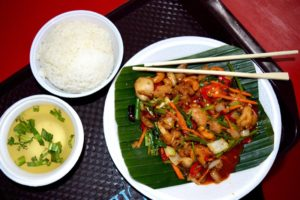 Spicy Cashew Chicken, White Rice and Sour Soup - Singapore