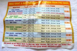 Boat and Bus Schedules from Phu Quoc, Vietnam