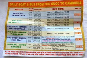 Boat and Bus Schedules - Phu Quoc, Vietnam