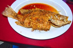 Fried Garlic Red Snapper at Zhong Hua Lou Seafood Restaurant - Langkawi