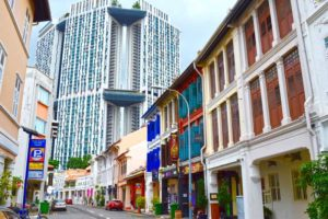 New towers above old - Chinatown, Singapore