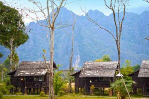 Bungalows Nestled in the Mountains of Vang Vieng, Laos