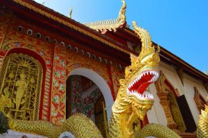Dragon Guards the Entrance to ? Wat - Chiang Rai, Thailand