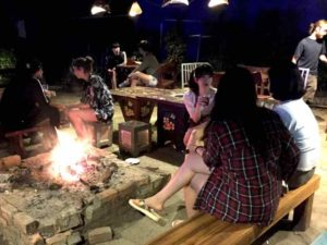 Fire Pit at hot Sakura Bar, a Vang Vieng Must - Laos
