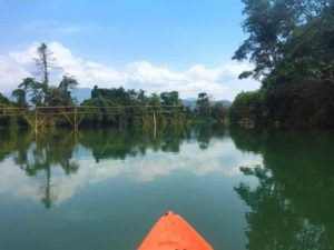 Kayaking and enjoying Reflections - Vang Vieng, Laos