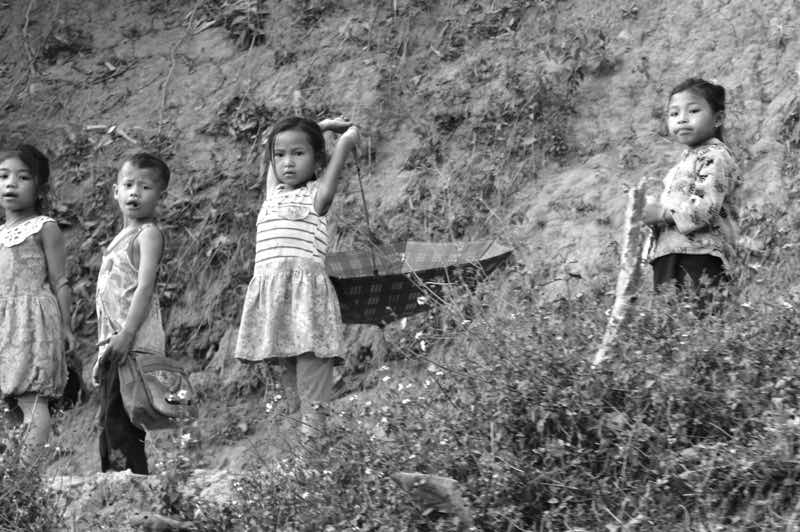 Kids by the Road in Laos - Black and White