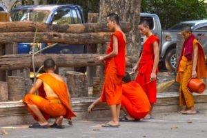 Monks Cleaning - Vientiane, Laos
