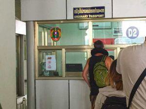 Passport Border Control - Night Bus from Laos to Thailand (Laos Side)