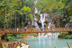 People Enjoy Kuang Si Falls - Luang Prabang, Laos