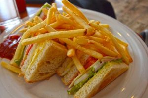 Club Sandwich with French Fries - BaanchivitMai Bakery and Restaurant, Chiang-Rai, Thailand