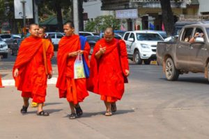 Monks in the Street - Vientiane, Laos