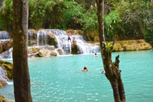 Swimming at Kuang Si Falls - Luang Prabang, Laos