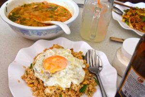 Tom Yum Soup, Egg Chicken Fried Rice, Lunch Time in Laos