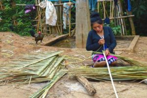 Weaving Grass Roof Tiles - Laos