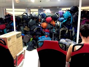Backpacks Stacked in Front of Lompraya Ferry from Koh Tao to Chumpon