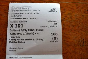 Bus Ticket with All Info - Chiang Rai to Chiang Mai