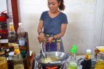 Chef Bow Demonstrates Frying Spring Rolls - Chiang Mai