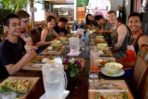 Class Enjoying Our Finished Dishes - Chiang Mai