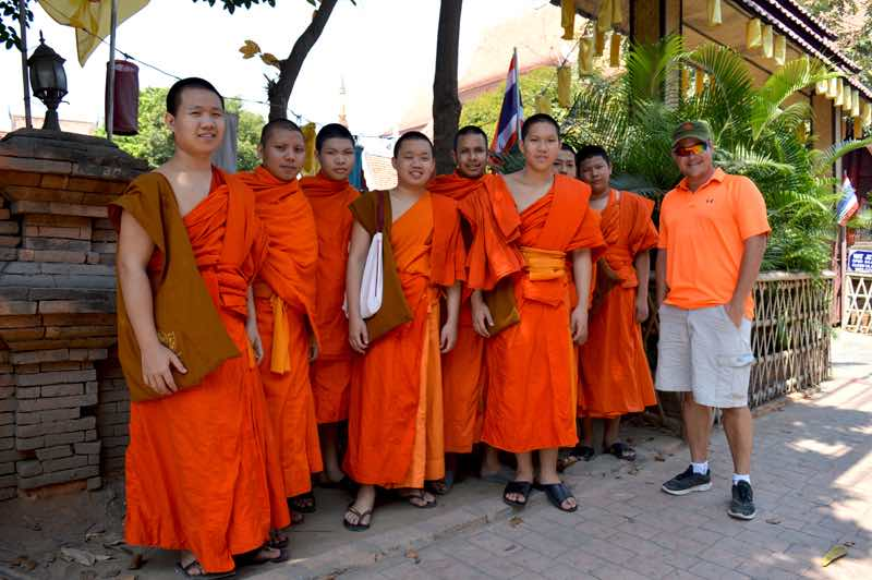Friendly Group Of Monks, Plus 1 - Chiang Mai, Thailand
