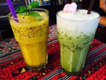 Passion Fruit and Green Tea Shakes - Tikky Cafe, Chiang Mai, Thailand