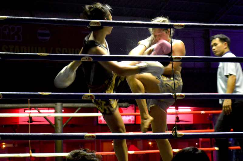 Swede Takes a Foot in her Face - Muay Thai Boxing, Chiang Mai