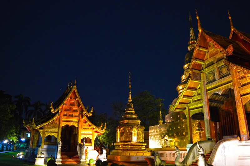 Temple Grounds By Night - Chiang Mai, Thailand