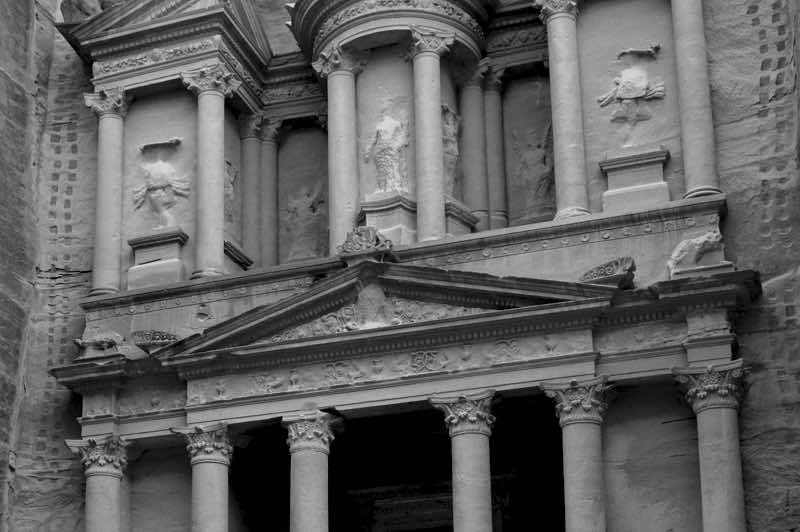 Amazing Detail of the Treasury in black and white - Petra, Jordan