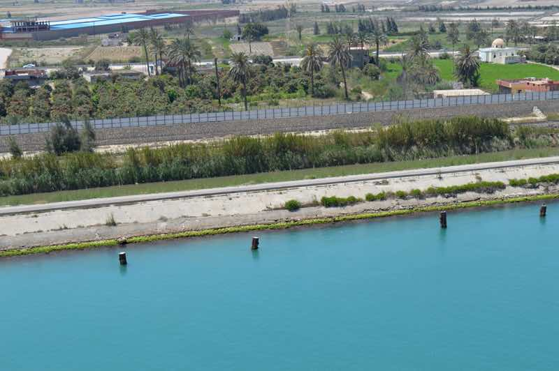 View of Land from Cruise Ship on the Suez Canal