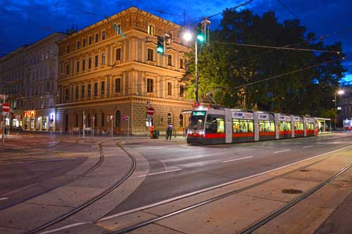 Electric Street Car - Vienna, Austria by Night