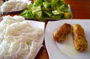 Fried Spring Rolls, Vermicelli and Greens - Bun Cha Ha Noi, Duong Dong, Phu Quoc