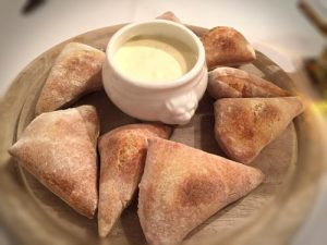 Pizza Buns with a side of creamy Garlic Sour Cream Dip - Rugana Restaurant Review - Ruegen, Germany
