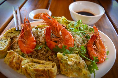 Sauteed Shrimp on Fried Rice with Omelette - Bia Ruou Restaurant, Phu Quoc, Vietnam