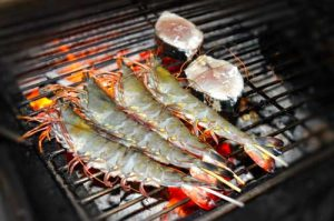 Barbecued Tiger Shrimp and Fish Steak - Restaurant Thu Phuong - Duong Dong, Phu Quoc, Vietnam