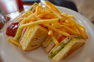 French Fries and Club House Sandwich - Baan Chivit Mai Bakery - Chiang Rai, Thailand