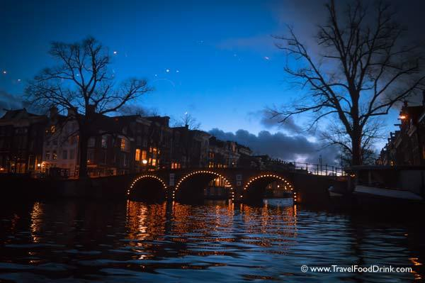 Canal Bridge Lights - Night in Amsterdam