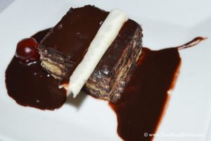 Opera Tart with Chocolate Sauce - Royal Restaurant, Serenity Hotels, Egypt